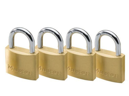 Picture of Master Lock 20MM Hard Steel Shackle, 4 Pieces Key-Alike Brass Padlock, MSP1900Q