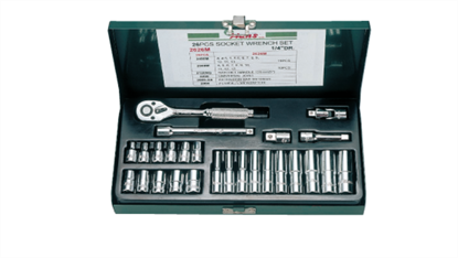 """Picture of Hans 1/4"""" Drive 12 Points 26 Pcs. Socket Wrench Set - Inches Size"""