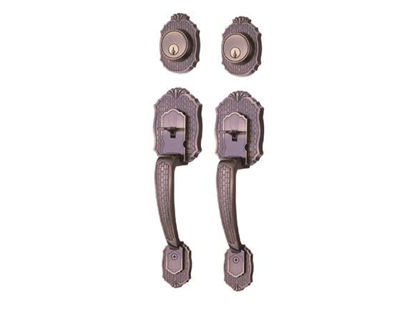 Picture of Ezset 2C Deadbolt Antique Brass Double Handleset EZBP410PEUS5