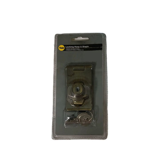Picture of Yale V00954 US5, V00954 US26, Door Hasp and Staple with Lock, V00954_US5