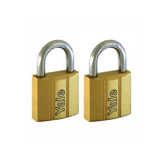 Picture of Yale V140.25 KA2, Standard Shackle Brass Padlocks 140 Series Key Alike 2, V14025KA2