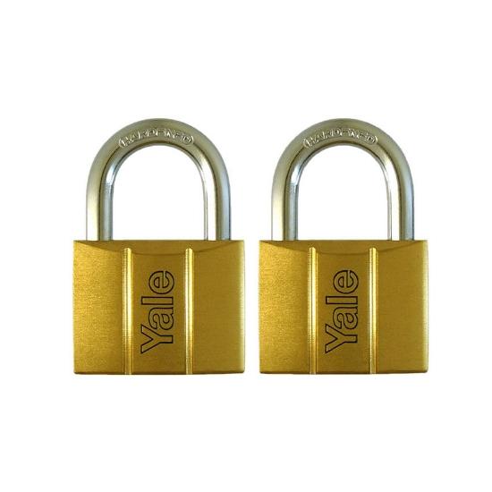 Picture of Yale V140.50 KA2, Standard Shackle Brass Padlocks 140 Series Key Alike 2, V14050KA2