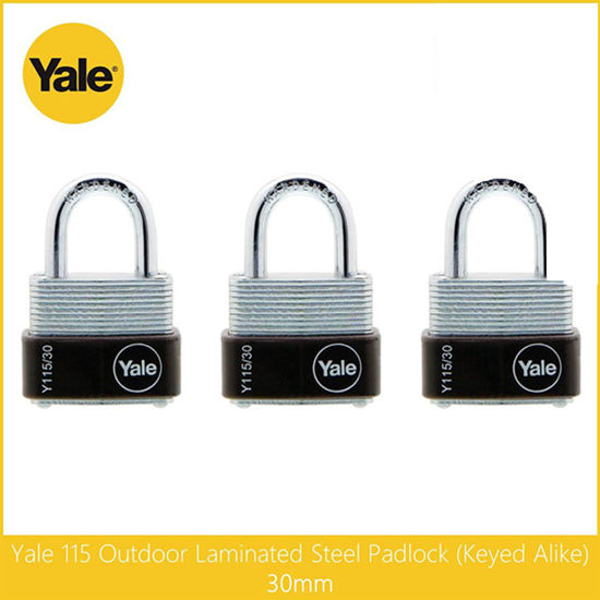 Picture of Yale Y115/30/117/3,  Outdoor Laminated Steel Padlock, Keyed Alike 30mm, Y115301173