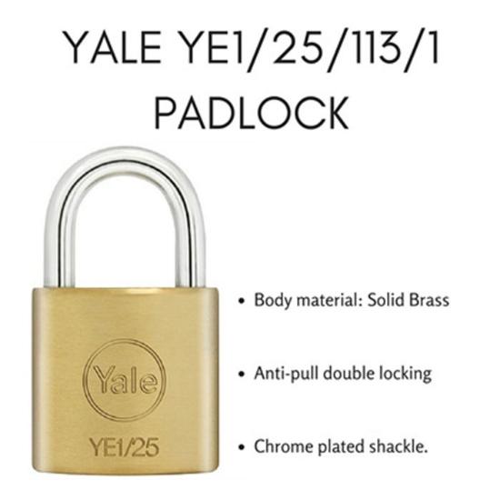 Picture of Yale YE1/25/113/1, Essential Series Indoor Brass Padlock 25mm, YE1251131