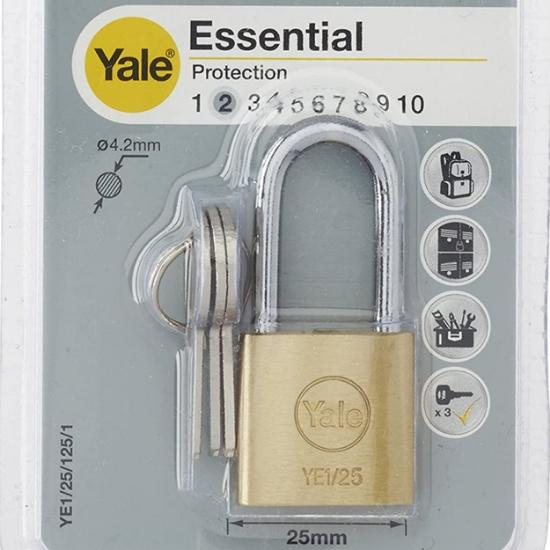 Picture of Yale YE1/25/125/1, Long Shackle Brass Padlock, YE1251251
