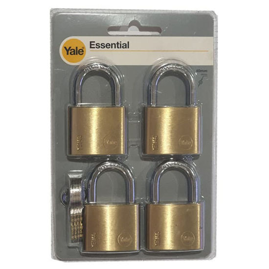 Picture of Yale YE1/40/122/4, Essential Series Indoor Solid Brass Padlock 40mm, YE1401224