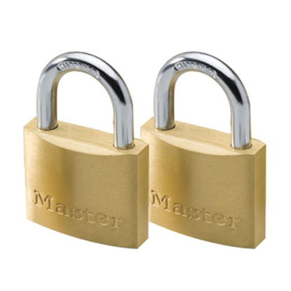 Picture of Master Lock 50MM Hard Steel Shackle, 2 Pieces Key-Alike Brass Padlock, MSP1903T