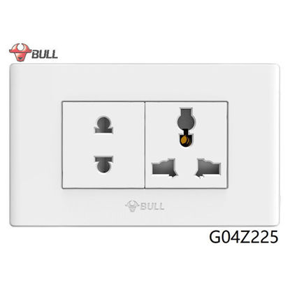 Picture of Bull 2 Gang Universal Outlet Set (White), G04Z225