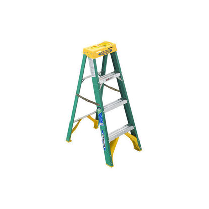 Picture of Jinmao 4 Step Fiberglass 5' Step Ladder 225 lbs Green, JMFM22104II
