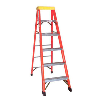 Picture of Jinmao 5 Step Fiberglass 6.5' Household Ladder with Big Aluminum Tray Orange 300 lbs, JMFM11105IA