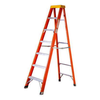 Picture of Jinmao 6 Step Fiberglass 7' Step Ladder 300 lbs Orange, JMFM22106IA